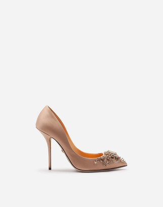 Dolce & Gabbana Satin Pumps With Bejeweled Embellishment
