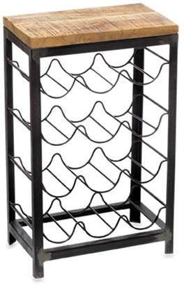 Nkuku Obra Industrial Style Wine Rack - Grey/Wood
