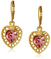 Swarovski 1928 Jewelry Gold-Tone Pink Genuine Crystal Gold Frame Heart Drop Earrings