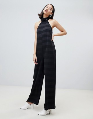 Lost Ink sleeveless jumpsuit with buckle collar in tonal stripe
