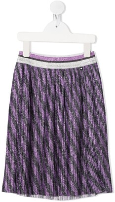 Molo Striped-Print Pleated Skirt