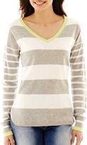 Liz Claiborne Long-Sleeve Striped V-Neck Sweater