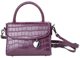 Mocha Jodie Croc Embossed Top-Handle Crossbody - Burgundy