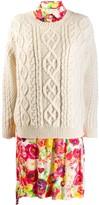 Junya Watanabe layered knit shirt dress
