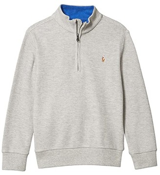Polo Ralph Lauren Kids Cotton Mesh 1/2 Zip Pullover (Little Kids/Big Kids) (Dockside Blue Heather) Boy's Clothing