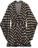 Zimmermann Folly Fil Coupé Silk-blend Chiffon Wrap Dress - Navy