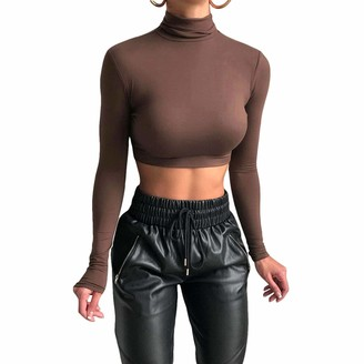 Gulirifei Women's Turtleneck Y2K Crop Tops Stretch Slim Fit Long Sleeve T-Shirt High Neck Pullover Shirts Basic Bodycon Streetwear (Coffee L)