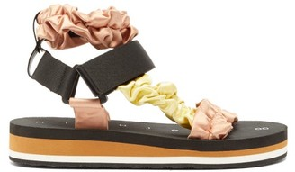 Midnight 00 Ruched Satin And Foam Sandals - Womens - Light Pink