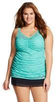 Ava & Viv Women's Plus Size Shirred Crochet Tankini Turquoise 22W