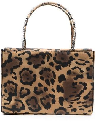 Amina Muaddi Gilda satin leopard print clutch