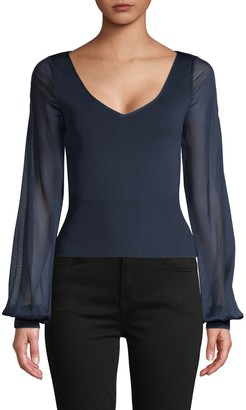 Ramy Brook Sheer-Sleeve Pullover Top