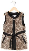 Little Marc Jacobs Girls' Faux Fur Quilted Vest