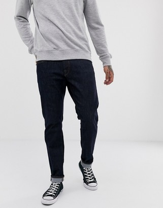 Selected straight fit organic cotton jeans in dark rinse