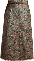 Dolce & Gabbana High-rise leaf-brocade midi skirt
