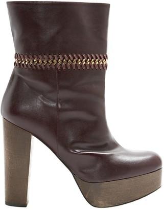 Stella McCartney Stella Mc Cartney Burgundy Leather Ankle boots