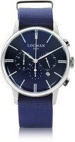 Locman 1960 Stainless Steel Men's Chronograph Watch w/Blue Canvas Strap