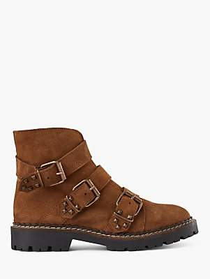 SHOE THE BEAR Hailey Buckle Suede Ankle Boots, Brown