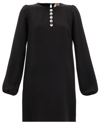 No.21 No. 21 - Crystal-button Crepe Mini Dress - Womens - Black