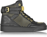 Moschino Black Leather Sneaker w/Gold Tone Studs