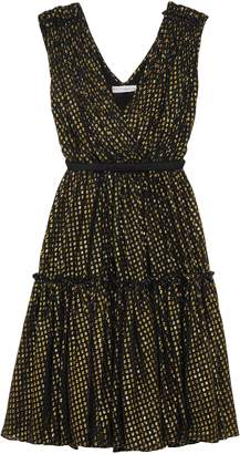 Stella McCartney Belted Metallic Fil Coupe Silk-blend Dress
