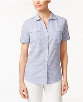 Karen Scott Printed Cotton Shirt, Only at Macy's