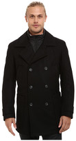 Andrew Marc Mulberry Pressed Wool Peacoat w/ Removable Quilted Bib