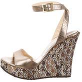 Jimmy Choo Glitter-Embellished Wedge Sandals