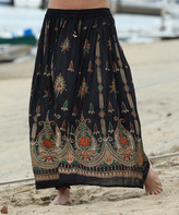 Ananda's Collection Women's Maxi Skirts Black - Black & Gold Floral Maxi Skirt - Women