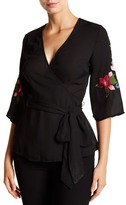 Lily White Embroidered Sleeve Wrap Shirt