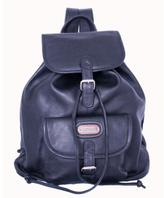 Leatherbay Black Leather Single-pocket Backpack