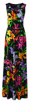 Lands' End Women's Sleeveless Shirred Maxi Dress-Black