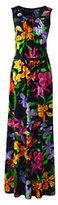 Lands' End Women's Sleeveless Shirred Maxi Dress-Midnight Indigo Dots