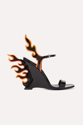 Prada Patent-leather Wedge Sandals - Black