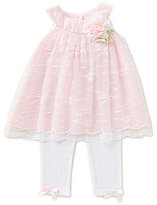 Rare Editions Baby Girls 3-24 Months Embroidered Lace Dress & Leggings Set