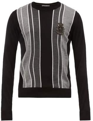 Dolce & Gabbana Embroidered Logo Striped Virgin Wool Sweater - Mens - Grey Multi