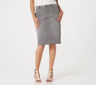 Logo by Lori Goldstein Denim Skirt with Detailed Stitching