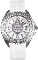 Police Women's PL-13090JS/28F Jade Crystal Bezel White Rubber Watch