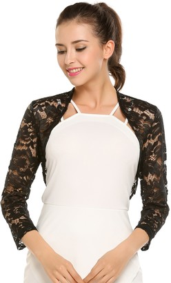 Meaneor Womens Bolero - Floral Lace Bolero with 3/4 Sleeves - Open-Front Bolero for Evening Dresses / Cocktail Dresses - - UK 18