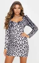 PrettyLittleThing Grey Leopard Print Belt Detail Long Sleeve Shift Dress