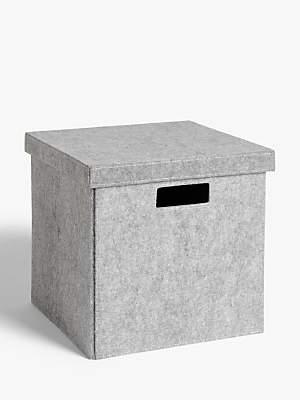 House by John Lewis Grey Felt Storage Box, Large