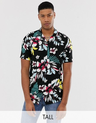 Le Breve Tall floral short sleeve revere collar shirt-Black
