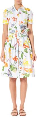 Carolina Herrera Floral Bow-Waist Shirtdress