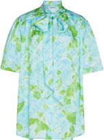 Balenciaga Logo-Jacquard Floral Silk Tie-Neck Top