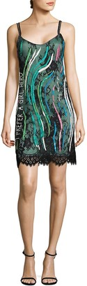 Roberta Einer Girl Hero Embellished Silk Slip Dress