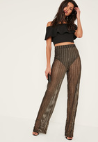 Missguided Gold Sheer Stripe Wide Leg Trousers