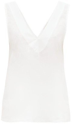ASCENO Lillie V-neck Linen Top - Womens - White