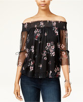 Amy Byer Juniors' Printed Mesh Off-The-Shoulder Top