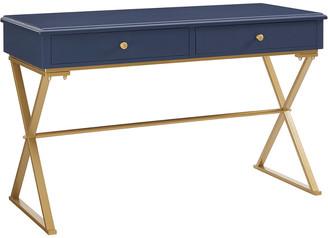 Linon Blue And Gold Campaign Desk
