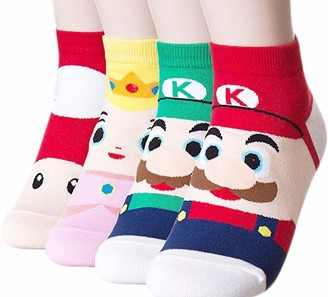 Okie Okie Womens Cat Socks - Crazy Cute Animal Dog Owl Print Crew Novelty Fun Funny Gift (Animation - Super Mario 4pcs)