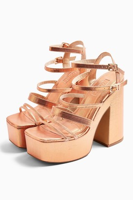 Topshop RAPID Copper Strap Platform Heels